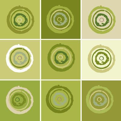 Nine Patch Green Tree Circles I