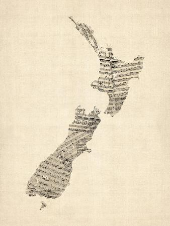 Old Sheet Music Map of New Zealand Map