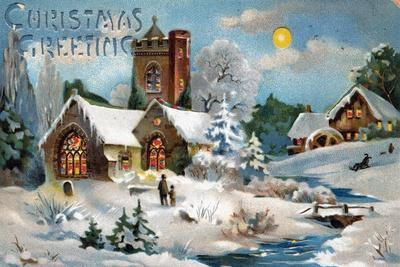 Christmas Card, Church in Winter Scene, Beatrice Litzinger Collection