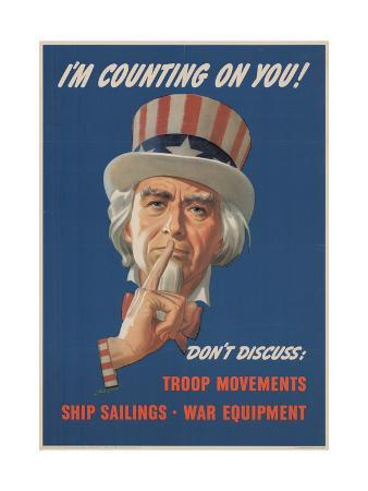 Center Warshaw Collection, Office of War Information Poster. I'M COUNTING ON YOU! DON'T DISCUSS…