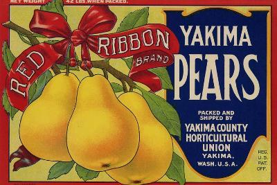 Fruit Crate Labels: Red Ribbon Brand Yakima Pears; Yakima County Horticultural Union
