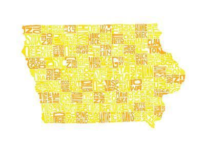 Typographic Iowa Yellow Orange