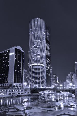 Marina City on the Chicago River BW