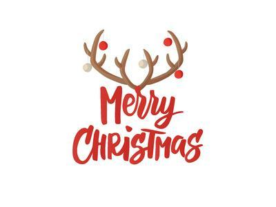 Merry Christmas Card Design with Hand Drawn Text. Reindeer Horns with Christmas Balls Decoration. C