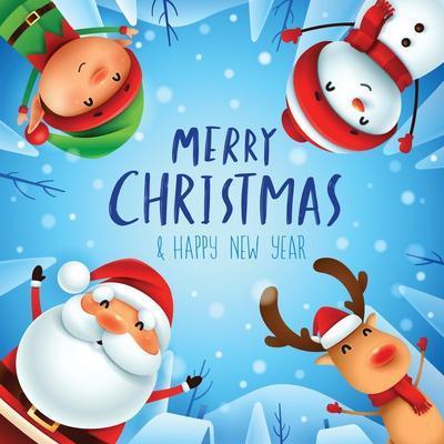 Merry Christmas! Happy Christmas Companions. Santa Claus, Snowman, Reindeer and Elf in Christmas Sn