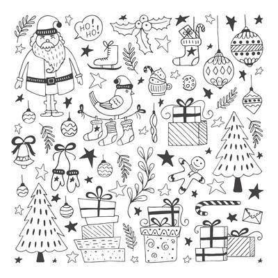 Vector Set of Hand Drawn Outline Christmas Illustrations. Clipart Collection with Santa Claus, Chri