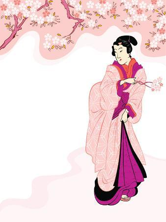 Vintage Japanese Geisha Enjoying Cherry Tree Blossom