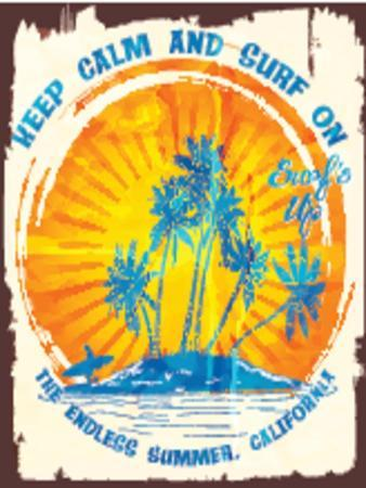 Tropical Island and Surf Beach Vector Poster