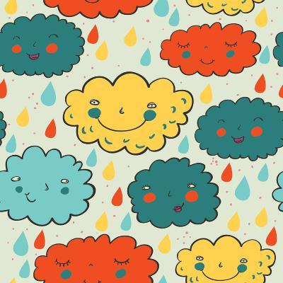 Colorful Cartoon Rainy Seamless Pattern in Vector
