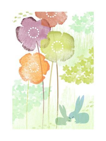 Rabbits and Abstract Flowers