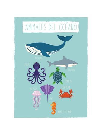 Ocean Animal Print In Spanish