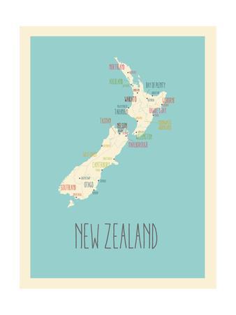 Blue New Zealand Map