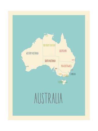Blue Australia Map