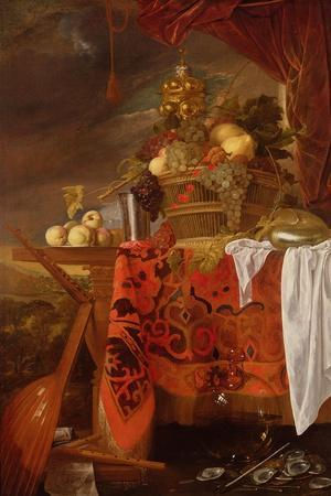 A Basket of Mixed Fruit with Gilt Cup, Silver Chalice, Nautilus, Glass and Peaches on a Plate