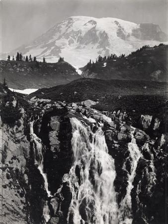 A Cascading Branch of the Upper Paradise River, Mount Rainier in Back