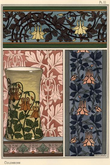 Columbine Flower Aquilegia Vulgaris In Patterns For Wallpaper