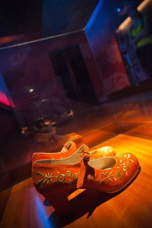 Shoes in a museum, Museo Del Baile Flamenco, Seville, Andalusia, Spain