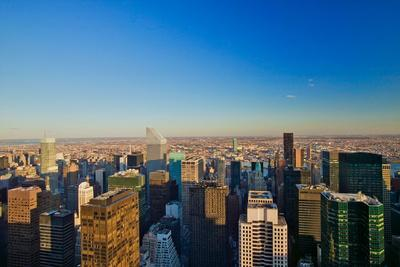 """Panoramic views of New York City at sunset looking toward Central Park from Rockefeller Square """"..."""