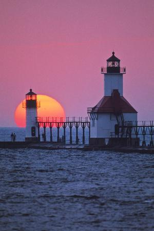 Lighthouse at sunset, St. Joseph, Michigan, USA