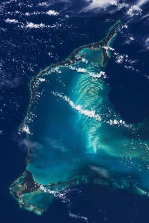 Satellite view of Eleuthera Island and Atlantic Ocean, Bahamas
