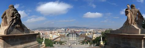Four columns to the magic fountain from Passeig Cascades Placa del Marques de Foronda Barcelona Catalonia Spain Poster Print by Panoramic Images 42 x 12