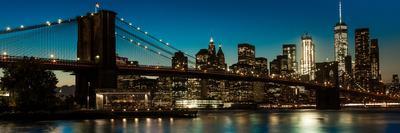 Brooklyn Bridge and Manhattan Skyline, NY, NY at Sunset