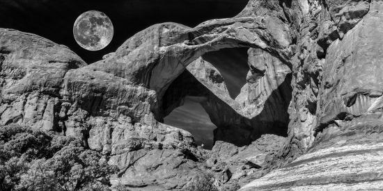 Double Arch With Moon At Arches National Park Moab Utah