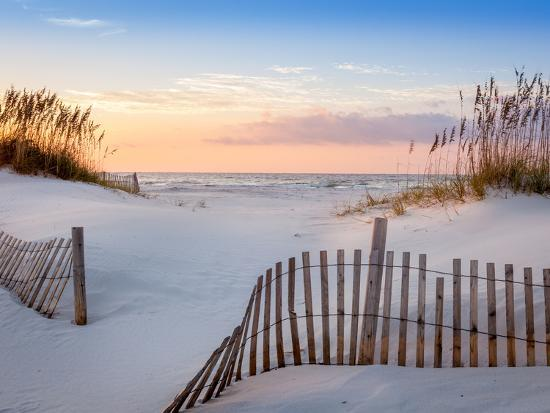 Sunrise At Pensacola Beach Florida With Sea Oats And Dune Fence
