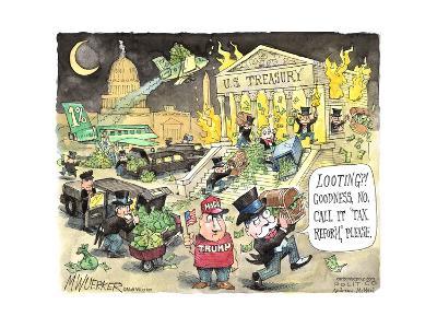 "U.S. Treasury. Looting?! Goodness, no. Call it ""tax reform,"" please. 1%. MAGA. Trump."
