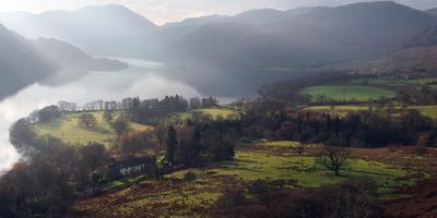Farmland, Ullswater, Lake District National Park, Cumbria, England, United Kingdom, Europe