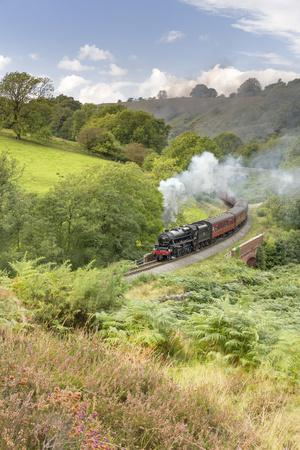 A steam locomotive approaching Goathland from Grosmont in September 2016, North Yorkshire, England