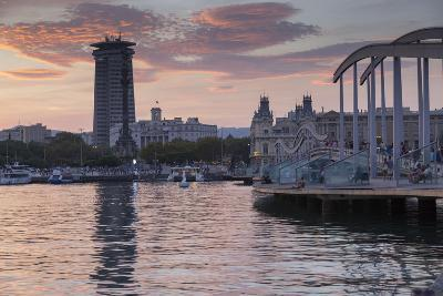 Port Vell at sunset, Barcelona, Catalonia, Spain, Europe