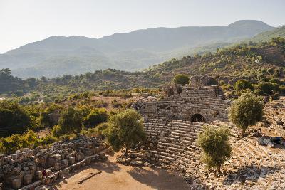 Amphitheatre at the ancient ruins of Kaunos, Dalyan, Anatolia, Turkey Minor, Eurasia
