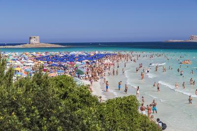 Tourists and beach umbrellas at La Pelosa Beach, Stintino, Asinara Nat'l Park, Sardinia, Italy