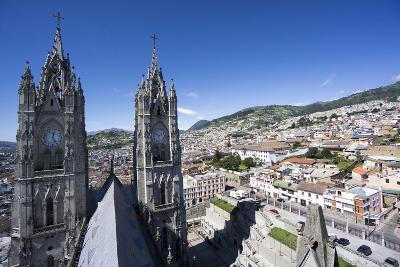 Basilica del Voto Nacional (Basilica of the National Vow), and city view, Quito, Ecuador
