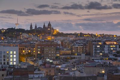 View of Barcelona at dusk, Barcelona, Catalonia, Spain, Europe