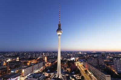 View from Hotel Park Inn over Alexanderplatz Square, Berliner Fernsehturm TV Tower, Berlin, Germany