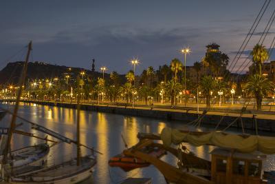 Port Vell at dusk , Barcelona, Catalonia, Spain, Europe