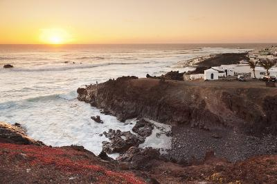 Fishing village El Golfo at sunset, Lanzarote, Canary Islands, Spain, Atlantic, Europe