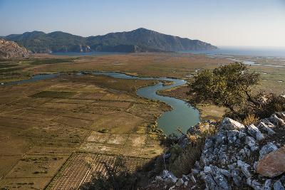 View over the Dalyan River from the ancient ruins of Kaunos, Dalyan, Anatolia, Turkey
