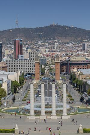 View from Magic fountain and Palace of Montjuic, Barcelona, Catalonia, Spain, Europe