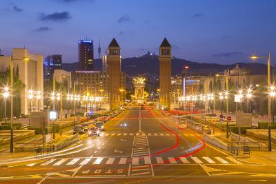 Placa de Espana (Placa d'Espanya) from the National Palace, Barcelona, Catalonia, Spain, Europe