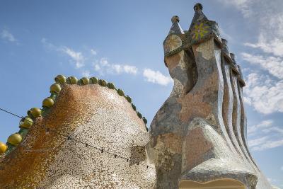 Rooftop of Antoni Gaudi's Casa Batllo building, UNESCO World Heritage Site, Barcelona, Spain