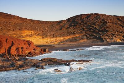 Charco de los Clicos lake at sunset, bay of El Golfo, Lanzarote, Canary Islands, Spain, Atlantic