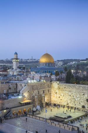 Israel, Jerusalem, Old City, Temple Mount, Dome of the Rock and The Western Wall - know as the Wail