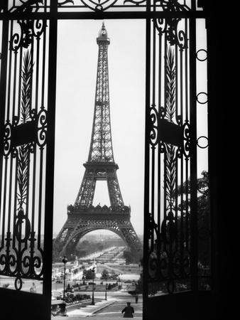 1920s Eiffel Tower Built 1889 Seen from Trocadero Wrought Iron Doors Paris,, France