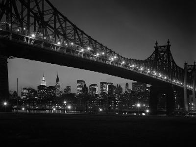 1960s Queensboro Bridge and Manhattan Skyline at Night New York City