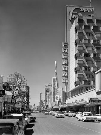 1960s View Down Freemont Street Downtown Las Vegas, Nevada