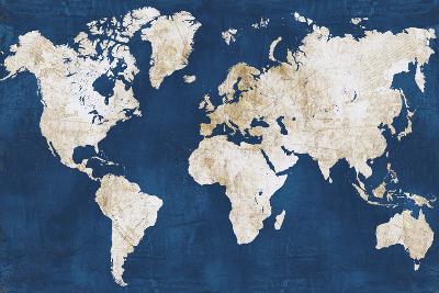World Map NavyGold