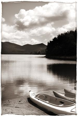 Canoe and Three Kayaks Sepia